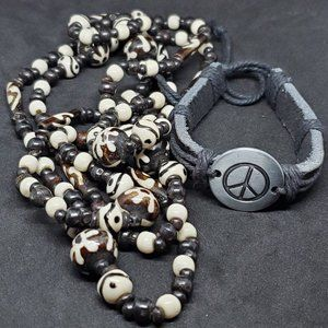Jewelry - 2 Piece Set of Necklace and Bracelet Leather Peace